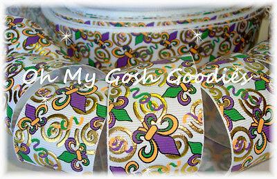 Mardi Gras Bow (1.5 MARDI GRAS METALLIC GOLD SWIRLS PURPLE FLEUR DE LIS GROSGRAIN RIBBON 4 BOW  )