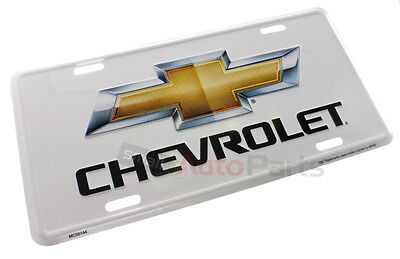White Metal License Plate (NEW!!! CHEVROLET LICENSE PLATE ALUMINUM STAMPED EMBOSSED METAL BOWTIE WHITE)