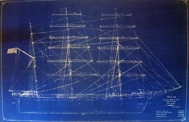 Antique Square Rigger Ship Kaiulani Print Hawaii 1899 Blueprint Plan 22x35 (303)