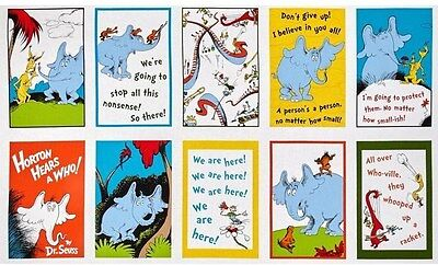 10 DR. SEUSS HORTON HEARS A WHO PANELS FOR QUILTS HOME DECOR & OTHER PROJECTS