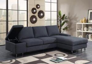 Grey Modern Sectional with steel Legs (KA203)