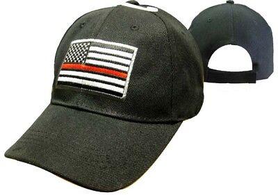 Dünn Rote Linien Niedriges Profil Feuerwehrmann Kappe Hut Schwarz USA (Erwachsene Rot Feuerwehrmann Hut)