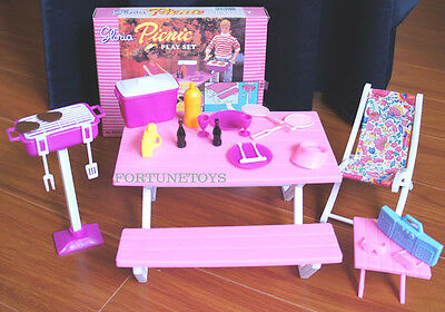 GLORIA Dollhouse FURNITURE SIZE Picnic Benches W/Cooler PLAYSET FOR BARBIE