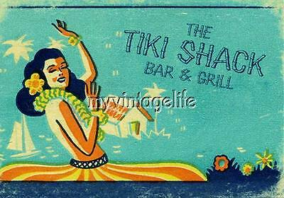 Vintage TIKI Shack Bar Hula girl Quilting Fabric - Tiki Shack