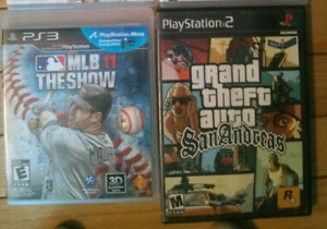 PS2 and PS3 games (MLB 11 & Grand Theft Auto)