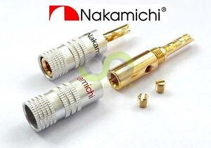 8x Nakamichi 24k Gold Plated Audio BFA Banana Speaker Plug Screw Cable & Wire