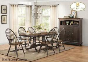 Double Pedestal Dining Table with 6 Chairs (MA695)