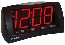 Westclox Large 1.8 Red LED Display Black Electric Alarm Clock with Large Snooze