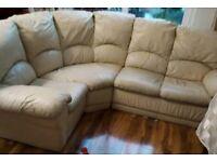 ***cream leather corner sofa*** Can deliver
