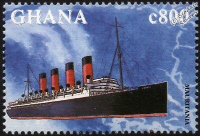 RMS MAURITANIA (1906) (Cunard Line) Ocean Liner Ship Stamp (1998 Ghana)