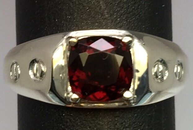 Natural Garnet Silver Men's Ring, FREE SIZING