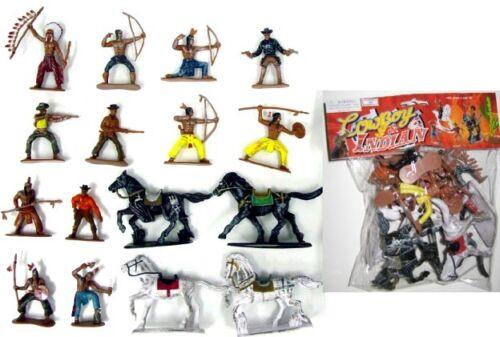 1:32 Wild West Western Cowboys & Indians Set Plastic Toy 12 Figures 4 Horses 033