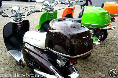 Roller MOTORROLLER RETRO braun 40 L TOPCASE mit Antenne GEPÄCK KOFFER Scooter