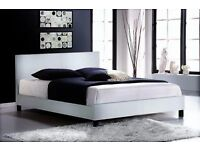 Faux Leather Sprung Slatted Base Bed frame & Mattress (Colour Options Available)