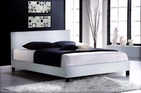 WHITE OR BLACK DOUBLE LEATHER BED IN FLATPACK WITH A RANGE OF MATTRESS