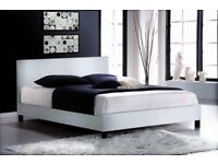 DOUBLE LEATHER BED IN FLATPACK WITH A RANGE OF MATTRESS (DELIVERED)