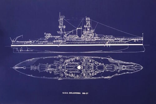 "Ships Plan Battleship USS Oklahoma BB-37 WW2 Pearl Harbor Blueprint 20""x24""(026)"