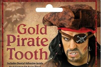 NIP Adult  * GOLD PIRATE TOOTH *  Halloween Costume Accessory  - Tooth Halloween Costume