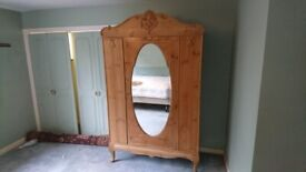 French Antique 19th Century Solid Pine Wood Wardrobe