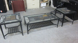 SET TABLE A CAFE VITRE GLASSED COFFEE TABLE 3 PIECES