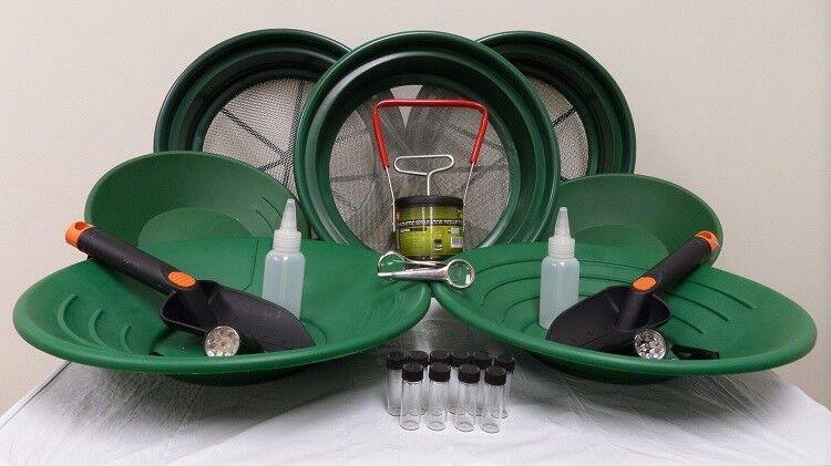 ULTIMATE Gold Panning Starter Kit Classifier Pans Shovel Snuffer Prospecting