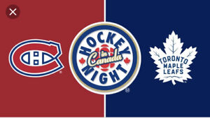 Paire de billets Rouges Canadiens vs Toronto 700$