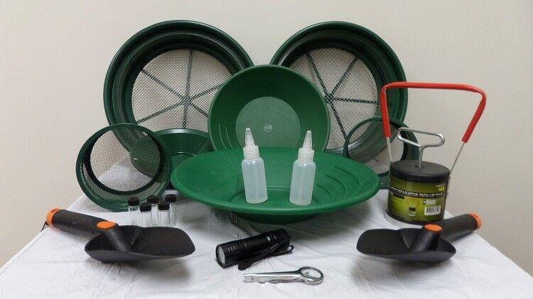 Delux Gold Panning Starter Kit Classifier Pans Shovel Magnet Snuffer Prospecting