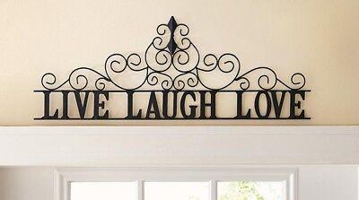 Black Fleur-de-Lis Scroll LIVE LAUGH LOVE Metal Wall Plaque Hanging Home Decor ()