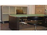 Italian Glass Executive Office Desk with Matching Book Case Storage