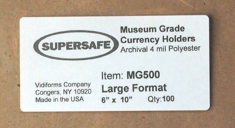 100 Museum Grade 7.75 x 3.5  Currency Large Banknote Sleeves 4mil Supersafe US