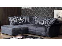 corner sofa in grey black free delivery