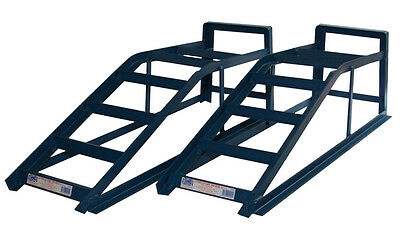 PAIR OF 2 TON TONNE HEAVY DUTY METAL CAR RAMPS VEHICLE LIFT GARAGE MAINTENANCE