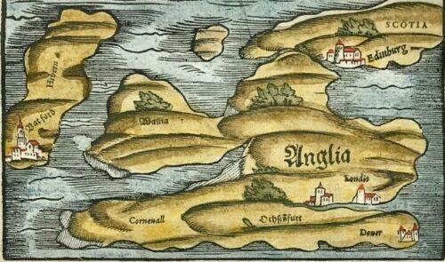British Isles c1578 ANGLIA by Munster, woodblock original Antique Map colour