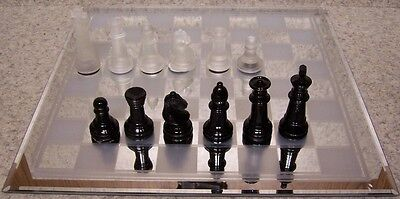 Chess Set with Glass Board frosted & mirrored squares Black & Frosted pieces NEW