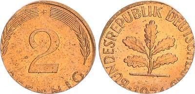 2 Pfennig 1974 F Fehlprägung auf zu kleiner 1 Pfennig Ronde, nur 2,02g !! vz-st