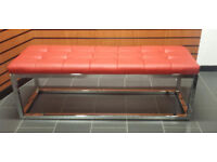 Long dining waiting bench seat Chrome ottoman salon shop