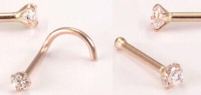 14kt Solid Rose Gold Nose Ring 1.5mm or 2mm CZ Gem 20g 20 gauge stud screw bone