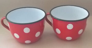 Vintage Red Enamel Cups with White Polka Dot