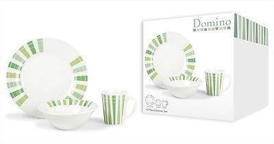 Earthenware 12Pce Dinner Set Green Domino 4x Plates,Bowls & Mugs Dishwasher Safe