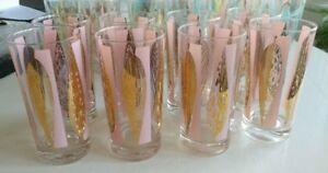 Retro Fred Press Pink and clear 22 karat gold leaves glasses (8)