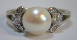 Ladies NVC Ring 925 Sterling Silver with pearl, size 9