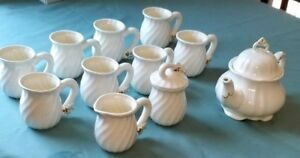 13 piece fine white China tea set