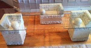 Contemporary Coffee &  End Tables, Glass & Carved Limestone Base Cambridge Kitchener Area image 1