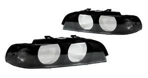 DEPO Euro Smoke Corner Headlight Lens Covers With Frame For 1997-2000 BMW E39