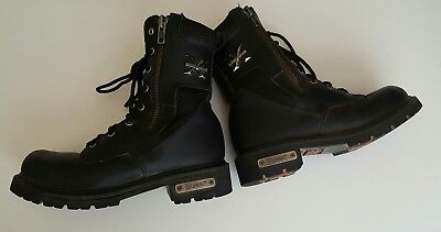 Xelement Motorcycle High Top Leather Boots Black Size Mens 8