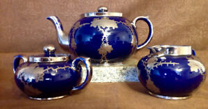 1940's English Gibsons Cobalt Blue Tea Pot/Cramer&Sugar Set