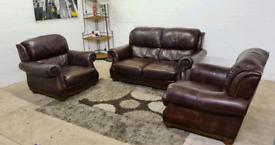 Luxurious 3 Piece Leather Sofa Set 2+1+1