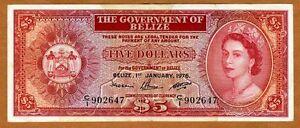 Belize-5-Dollars-1976-QEII-P-35-35b-VF-to-VF-Scarce