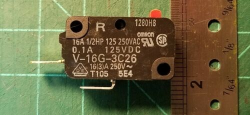 Omron V-16G-3C26 Miniature Microswitch Pin Plunger, SPST-NO, 16A@250Vac UL & CSA