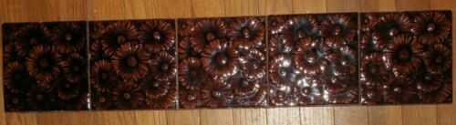 American Encaustic Tiles Brown Flowers Majolica Glaze Lot Fireplace Antique